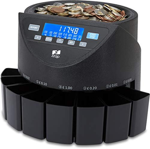 ZZap CS20+ Coin Counter & Sorter for GBP - Money Cash Currency Mach