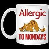 N\A Tazza da caffè in Ceramica con Gatto Pigro Divertente allergico al lunedì