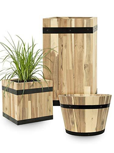 Pflanzwerk® Pflanzkübel Cup Holz Ø37cm 100% Bio-AKAZIENHOLZ Weinfass Holzfass *Frostbeständiger Blumenkübel* *Bio Pflanzenkübel* *Nachhaltige Qualitätsware*