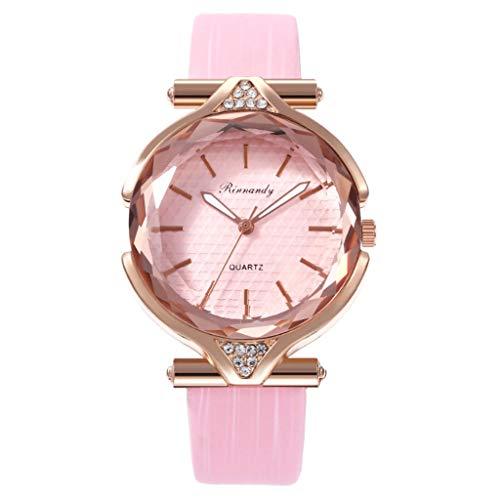 Bravetoshop Women's Watch Elegant Simple Diamonds Shinning Dress Watches Analog Quartz Wristwatches Fashion Bracelet Watch for Lady Gifts 843(Pink)