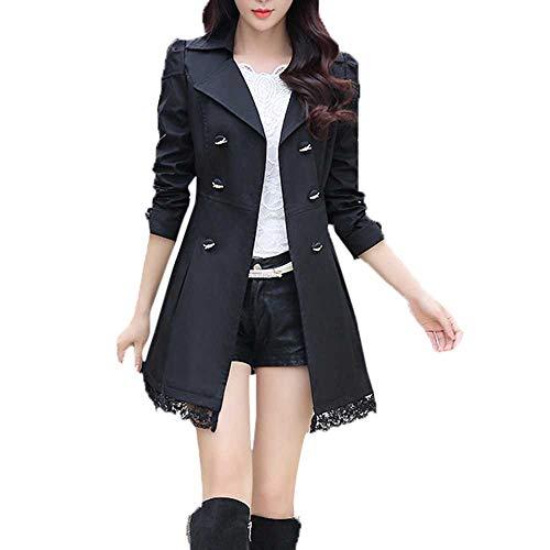 Logobeing Chaqueta de Encaje con Botones de Manga Larga Abrigo Invierno Moda Chaqueta de Punto Jersey Cardigan Suéter Mujer Holgada Abrigo con Cinturón (L, Negro)