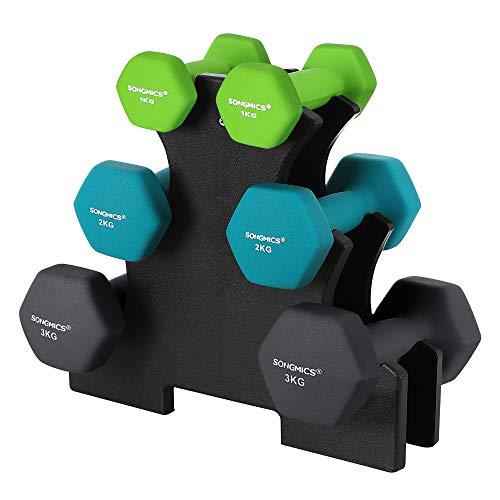 SONGMICS Kurzhantel Set, Hexagon, mit Hantelständer, 2 x 1 kg, 2 x 2 kg, 2 x 3 kg, mattes Finish, Neopren-Beschichtung, Krafttraining, zu Hause, limettengrün, aquamarin, dunkelgrau SYL612G02