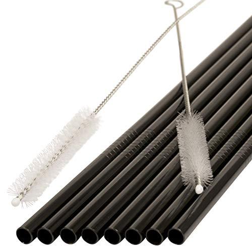 JOHSEATY, cannucce riutilizzabili, in acciaio inox di alta qualità, colore nero, 8 pezzi, dritte, 21,5 x 0,6 cm + 2 spazzole testate, lavabili in lavastoviglie, riutilizzabili, in metallo
