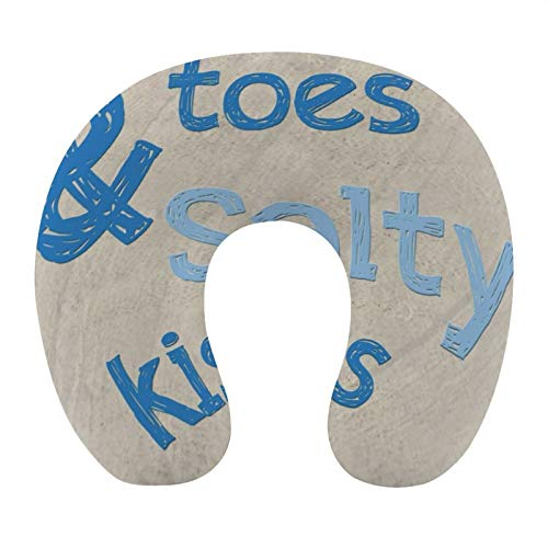 Sandy Toes & Salty Kisses Latex Travel Neck Pillow U Shaped Head Chin Support Pillow