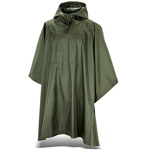 Black Snake Outdoor Regenponcho | Ripstop Regencape mit Kapuze | Regen Poncho inkl. Tasche | Regenjacke für Damen und Herren - Oliv