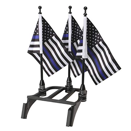 E-Most Motorcycle Blue Line USA Flags and Black Pole Mounts Fit for 1/2' Round Luggage Rack,for Honda Goldwing CB VTX CBR Yamaha Harley Davidson(3 Pieces)