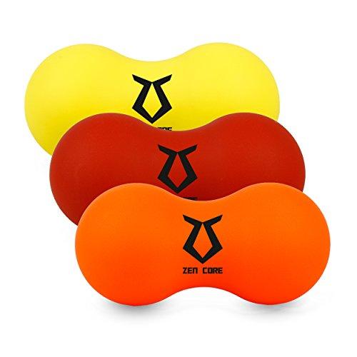 Zen Core Massage Peanut Original - Faszienrolle innen hohl im 3er Pack aus Gummi, Gelb, Orange, Rot, gibt bei Druck etwas nach, Größe 13 x 6,5 cm für Triggerpunkt- & Faszienmassage/Physiotherapie