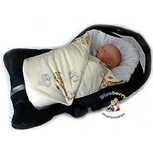 BlueberryShop Luxury Classic Car Seat Swaddle Wrap/Blanket for Newborn Baby, Cream Giraffe:Bemdesaude