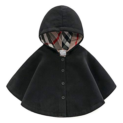 Chiyeee Baby Meisjes poncho mantel met capuchon cape cape cape mantel met knoopsluiting voor kinderen