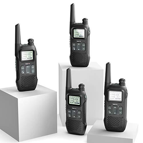 Radioddity PR-T1 PMR Funkgerät Set mit LC-Display, Walkie Talkie 4KM Reichweite, 16 Kanäle PMR446 Lizenzfrei Wiederaufladbar mit USB Ladekabel (4 Stücke)