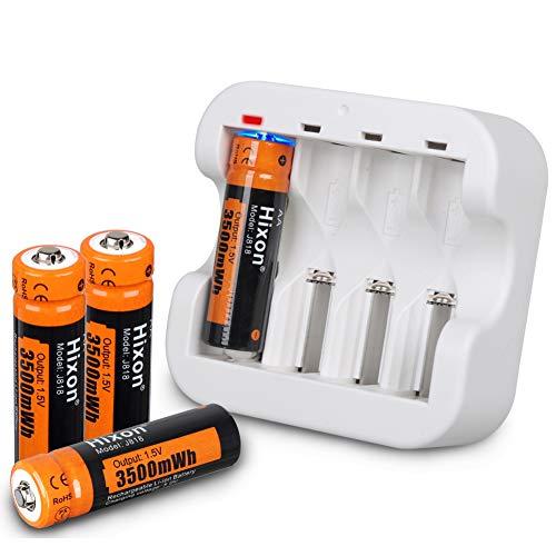 Hixon Pilas AA Recargables de ion de Litio de 1,5 V y 3500 mWh Para mando a Distancia de Xbox y Juguete, Juego de 4 Pilas y Cargador Rápido