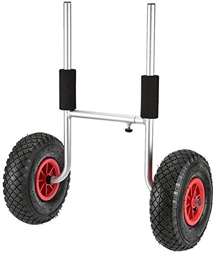 LVLUOKJ Carro de Kayak, Carro de Transporte de Canoa para Botes, Carro de Transporte de Remolque con Plataforma de Aluminio Resistente con 2 Ruedas
