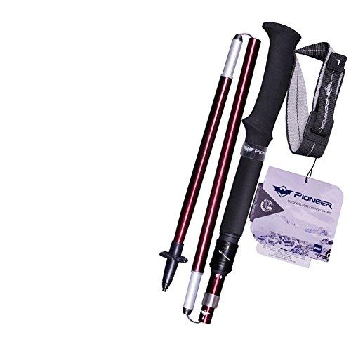 Xin sheng he Randonnée bâton Réglable Bâtons pour randonnée Folding S'étendant de 115 à 130 cm Fournitures d'équipement de Plein air Poignée pour Les Hommes et Les Femmes 1pc-du vin