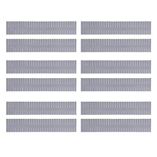 Mousyee Schubladenteiler, 12 Stücke Schubladenabscheider 32 x 7 cm Multifunktionaler Verstellbarer DIY-Kunststoff-Schrankabscheider Trennwand-Organizer-Behälter für das Home-Office-Schlafzimmer (Grau)