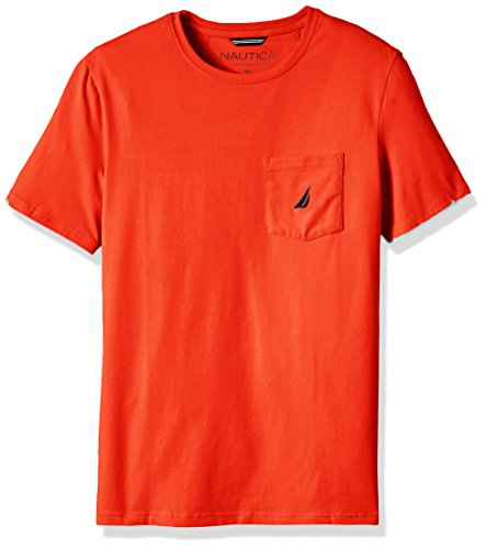 Nautica Solid Crew Neck Short Sleeve Pocket T-Shirt Camiseta, Spicy Orange, XXL para Hombre