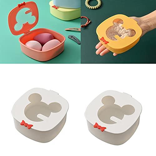 GSJDD Caja de joyería de Viaje, 2pcs Color de Caramelo portátil Mini Caja de contenedor, Linda Forma de Mickey con Tapa, para Almacenamiento de artículos pequeños, artesanías-White
