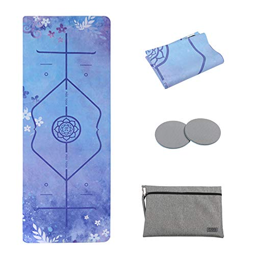 WWWW PIDO Travel Yoga Mat Printed Suede Natural Rubber Non Slip Gym Mat with Carrying Bag 72'x26' Foldable 1/16 Inch Ultra Thin mat for Yoga Pilates Fitness Exercise (Blue Ocean)