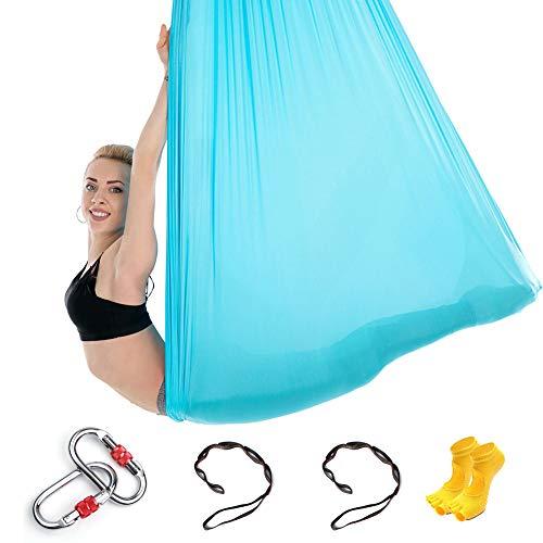 Himifuture - Amaca da yoga in tessuto di seta con moschettone e catena a margherita, per yoga, anti-gravità, con un paio di calzini in omaggio, lunghezza 5 m x larghezza 3 m