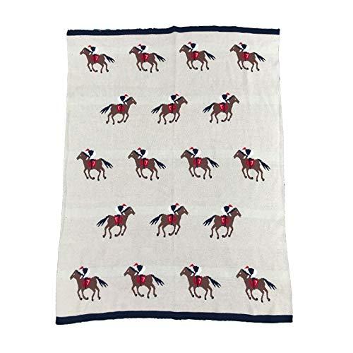 NO BAND 90X110cm zachte katoen gebreid paard patroon dikke babydeken kinderen achterover babystoelovertrek deken kinderbeddengoed quilt