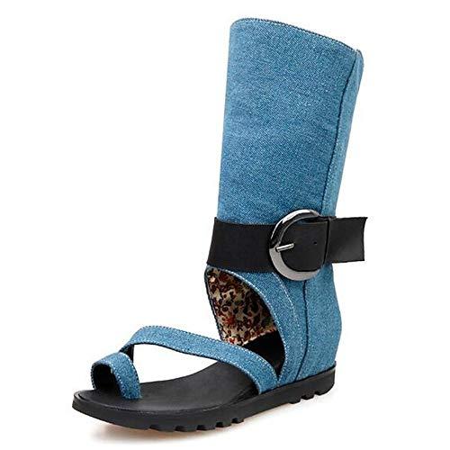 Dames canvas zomer sandalen platte hak zwart/blauw/lichtblauw
