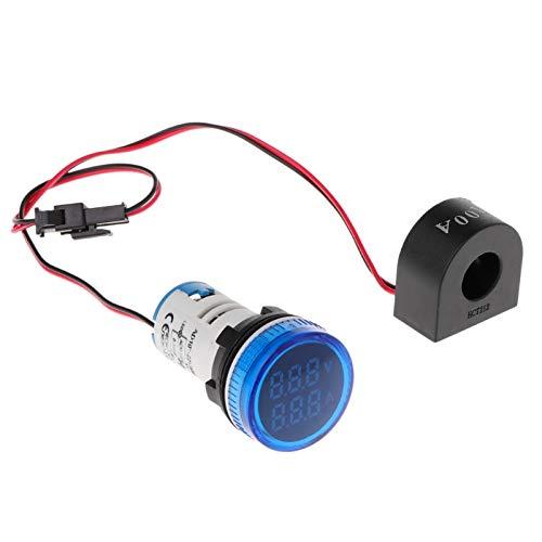 Voltímetro digital Amperímetro 22mm Redondo AC 50-500V 0-100A Voltaje Volt Amp Monitor medidor de voltaje de la batería