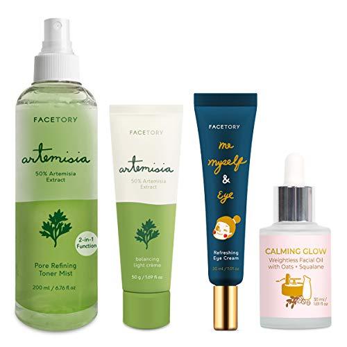 FaceTory Skincare Bundle with Artemisia Creme, Artemisia Toner, Oats Facial Oil, Eye Cream (Skin Balancing and Moisturizing Skincare Set)