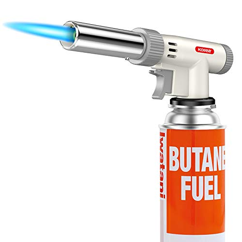 Butane Torch, Kollea Professional Kitchen Blow Torch, Mini Chef Artist Culinary Cooking Torch with Adjustable Flame & Reverse Use for Creme Brulee, Baking, Crafts, BBQ (Butane Gas Not Included)