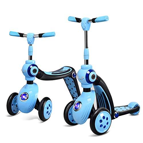 COSTWAY 2 in 1 Laufrad und Scooter Kinder, Roller mit PU Rad, Kickboard Tretroller für Kinder ab 3 Jahren, Max. Belastbarkeit 30 kg (Blau)