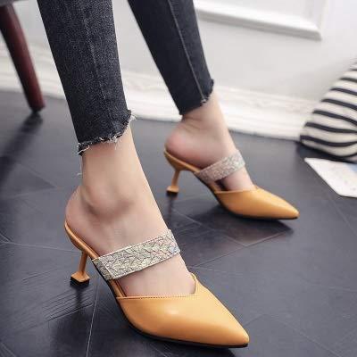 MARYYUN Mujer al Aire Libre del Deslizador de Color Caramelo Zapatillas de Verano Remaches Acentuados con Tacones Altos Chanclas Zapatillas Sandalias Femeninas (Color : Yellow, Shoe Size : 36)