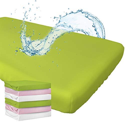 WhizProducts Spannbettlaken mit integriertem Matratzenschoner 70 x 140 cm (grün) für Babybett - atmungsaktiv und wasserdicht - Spannbetttuch mit zuverlässigem Nässeschutz für Babys und Kinder