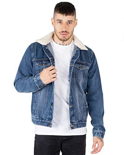 NOROZE Mens Denim Jacket with Detachable Sherpa Collar Classic Fur Jean Trucker Coat (M, Denim Blue)