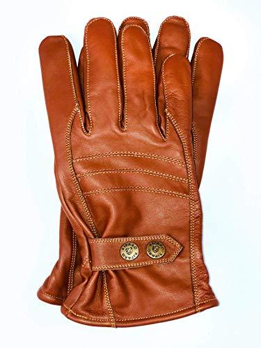 Riparo Herren Winter Warme Outdoor Lässige Lederhandschuhe rutschfeste Fleecefutter Weiche Winddicht Handschuhe aus Echtleder Autofahr und Motorradhandschuhe (Braun, L)