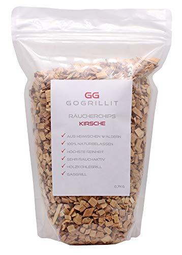 GOGRILLIT Räucherchips Kirsche - Smoke Chips/Räucherspäne für Gasgrill, Holzkohlegrill, Smoker und Räucherofen geeignet - 100% natürliches Räucherholz aus heimischen Wäldern (Kirschholz, 700g)