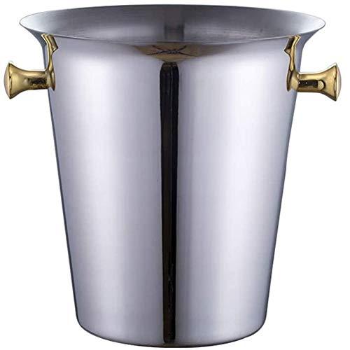 ZYCH Cubo de Hielo Cubitera de Acero Inoxidable 3 litros Mango de Oro Champagne de Vino de Lujo Enfriador de Botellas para Boda Barware
