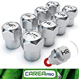 CAREApro  Ventilkappen Auto mit Beschriftung (8er Set) im Rocket-Chrome-Look mit Dichtung - Intelligente Reifen Markierung - Rostfrei ABS-Kunststoff