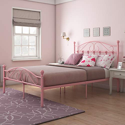 4FT6 Double Bed, Metal Bed Frames with HeadBoard & Footboard, Strong Bedstead, Pink Bedroom Furniture for Adults, Teenagers, Kids, Girls (198 x 140 x 110cm) (Pink A)
