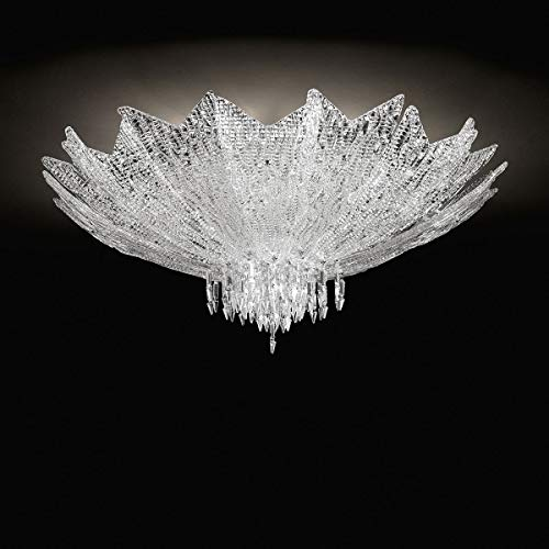 Vendramin Murano Glas Deckenleuchte in Chrom transparent Kristall | Handgefertigt in Italien | Deckenlampe Klassisch Dimmbar | Lampe E14
