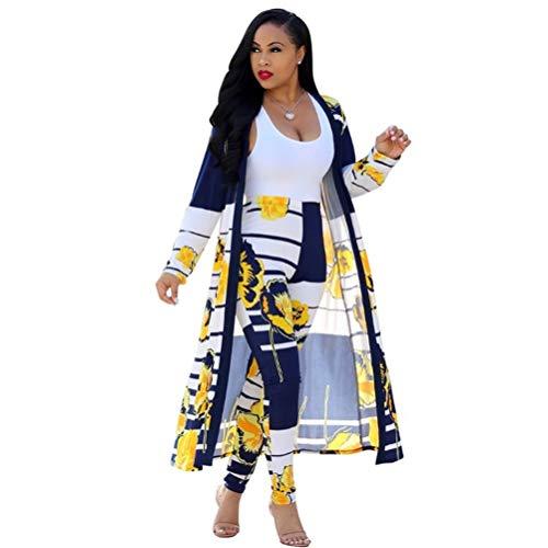 Symina Damen 2-teilige Outfits, Trainingsanzug-Strickjacke mit Blumendruck und Bodycon Long Pants Set (Multicolor,M)