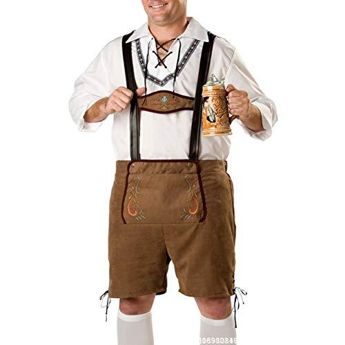 Yiwa Heren Oktoberfest grote maat hemd + panty + hoed voor Halloween klederdrachtmode