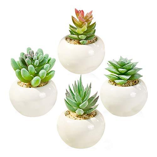 Plante Artificielle Interieur 4pcs, Succulentes Artificielles Mini Plantes Fausse Plantes avec Pot Atificielles Herbe Decoration pour Intérieur Extérieur Bureau Table Jardin Cadeau de Maison round