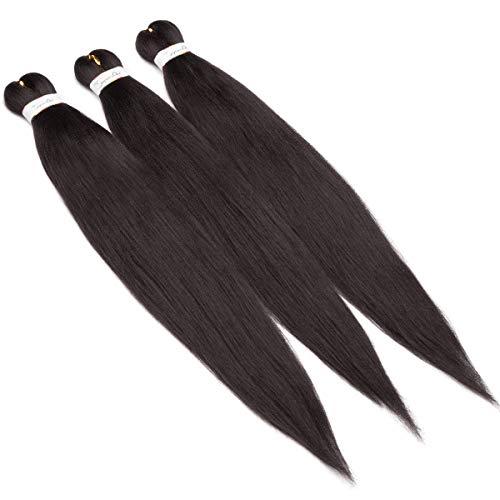TESS Braids Extensions Naturschwarz Kunsthaar Vorgedehntes Braiding Hair 1 PCS 90g/Bündel Yaki Textur 26