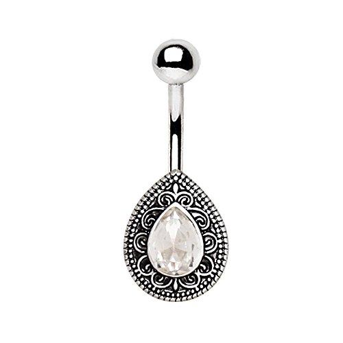 eeddoo® Ornament Träne BAUCHNABELBANANE Silber - BAUCHNABELPIERCING aus silbernem Edelstahl - 1,6X 10 mm - Piercing für den Bauchnabel - Navel-Ring für Damen
