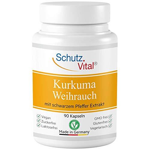Kurkuma Kapseln mit Weihrauch Extrakt und schwarzer Pfeffer (Piperin). Hochdosiert mit 95% Boswellia Serrata und Curcumin. VEGAN, labogeprüfte Herstellung in Deutschland