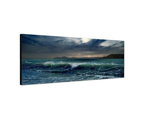 Quadro da parete su tela come Panorama in 150x 50cm Mare onde tempesta buio