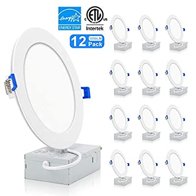 VOLISUN 6 Inch 12 Pack Slim LED Recessed Lights with Junction Box,Dimmable Ceiling Light Downlight,5000K Daylight,1050LM,12W 100W Eqv,90+ High Color Rendering ETL and Energy Star Certified