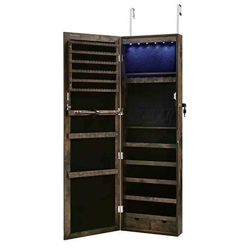 SONGMICS Schmuckschrank hängend, abschließbarer Spiegelschrank, Wandschrank mit Spiegel und zahlreichen Fächern, Wandmontage, an der Tür hängend, für Ketten, Ohrringe, Vintage, Dunkelbraun JJC93CB