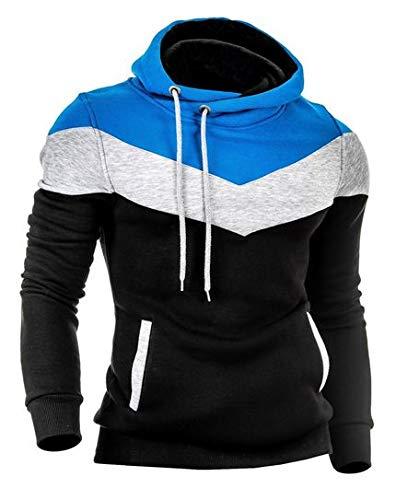 Moletom Slim 3 Cores Masculino Criativa Urbana Blusa Com Capuz Azul