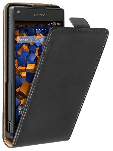 mumbi Echt Leder Flip Case kompatibel mit Sony Xperia Z5 Compact Hülle Leder Tasche Case Wallet, schwarz