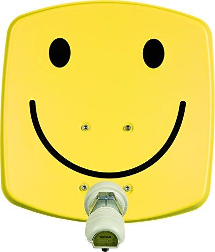 TechniSat DIGIDISH 33 - Satelliten-Schüssel für 1 Teilnehmer (33 cm kleine Sat Anlage - Komplettset mit Wandhalterung und Universal V/H Single-LNB)smiley-gelb