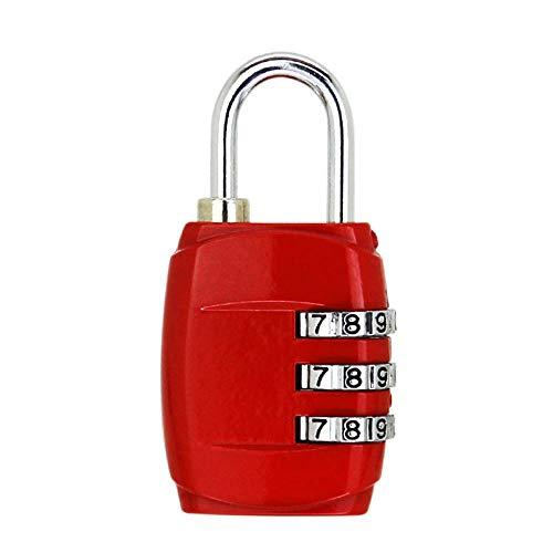 Kombinations Zahlenschloss, Kombinations Zahlenschloss 3-stellige Zifferncodierung Mini-codierte, verschlüsselte Diebstahlsicherungen [2 Stück] -Rot